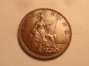 1933 SUPERB   GREAT BRITAIN BRONZE FARTHING LOW MINTAGE 4 560 000