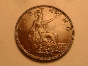 1934 SUPERB   GREAT BRITAIN BRONZE FARTHING LOW MINTAGE 3 053 000