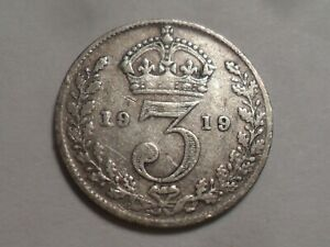 1919 NICE GREAT BRITAIN 92.5  SILVER THREEPENCE MINTAGE 16 846 000