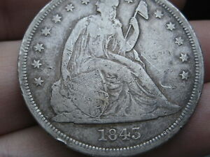 1843 SEATED LIBERTY SILVER DOLLAR  FINE DETAILS