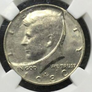 1980 P 50C LARGE 50  INDENT OVER OBV BY 50C CLAD LAYER DRAMATIC MINT ERROR MS62