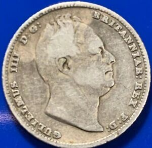 1834 GREAT BRITAIN BRITISH SILVER SIXPENCE 6 PENCE  1038