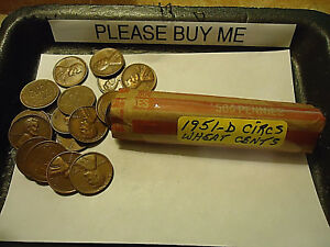 1951 D LINCOLN WHEAT CIRCS CENT ROLL    >> C/S & H AVAILABLE <<