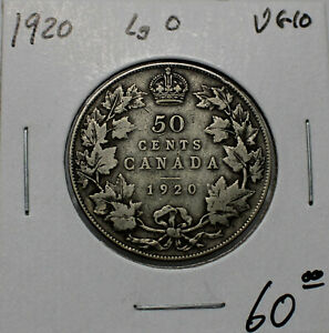1920 WIDE 0 SILVER CANADIAN 50 CENT VG10 CONDITION B131