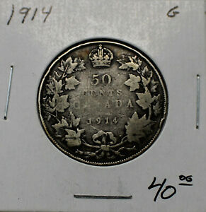 1914 SILVER CANADIAN 50 CENT G CONDITION B121