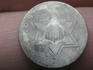 1854 1855 1856 1857 OR 1858 THREE 3 CENT SILVER TRIME