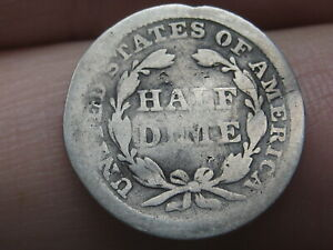 1855 P SEATED LIBERTY HALF DIME  WITH ARROWS