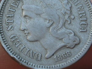 1868 THREE 3 CENT NICKEL  CIVIL WAR TYPE COIN  FINE/VF DETAILS