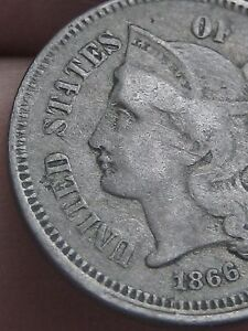 1866 THREE 3 CENT NICKEL  VG/FINE DETAILS