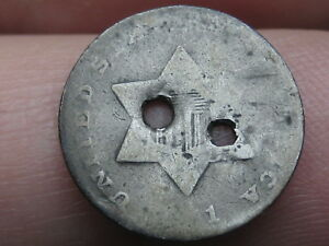 1851 THREE 3 CENT SILVER TRIME  OLD TYPE COIN HOLED TWICE