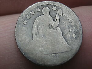 1856 SEATED LIBERTY HALF DIME  LOWBALL HEAVILY WORN