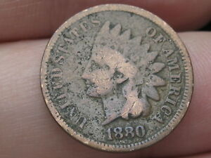 1880 INDIAN HEAD CENT PENNY GOOD/VG DETAILS