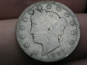 1893 LIBERTY HEAD V NICKEL  GOOD DETAILS FULL DATE