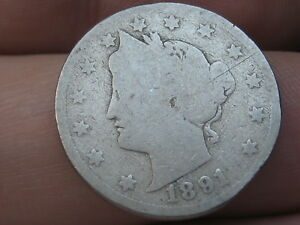 1891 LIBERTY HEAD V NICKEL 5 CENT PIECE  FULL DATE