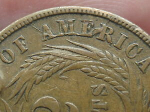 TWO 2 CENT PIECE  XF/AU DETAILS  WE BOLD  SEVERE DIE CRACK MINT ERROR