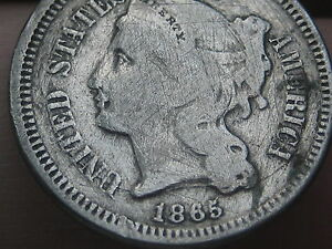 1865 THREE 3 CENT NICKEL  VG/VERY GOOD DETAILS
