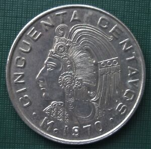 MEXICO 1 9 7 0  ONE FIFTY CENTAVO CENT AZTEC HEAD COIN LOW SHIPPING
