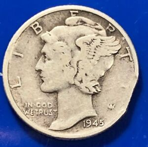 1945 MERCURY DIME SILVER ERROR COIN STRAIGHT CLIPPED PLANCHET  10 CENTS  1021