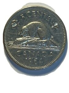 ERROR COIN 1964 DOUBLE KG & WATER CANADA 5 CENT NICKEL