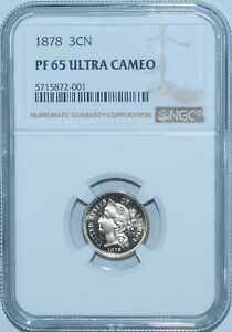 Click now to see the BUY IT NOW Price! 1878 NGC PR65DCAM DEEP ULTRA CAMEO 3 CENT NICKEL 3CN PROOF STRIKE