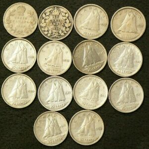 1931 TO 1954 CANADA 10 CENTS LOT OF 14 SILVER 6416