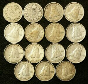 1930 TO 1954 CANADA 10 CENTS LOT OF 15 SILVER 6417
