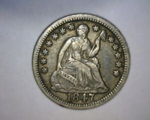 1847 SEATED LIBERTY HALF DIME STRONG DATE AND HIGH GRADE  E/F TO A/U  US  COIN