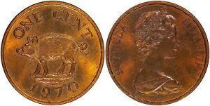 BERMUDA 1 CENT 1970 UNC/BU RED/BROWN    NICE COIN