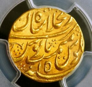 Click now to see the BUY IT NOW Price! MUGHAL EMPIRE. MUHAMMAD SHAH GOLD MOHUR AH 114X YEAR 15. PCGS CERT MS63. RRR.