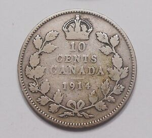1914 TEN CENTS VG   NICE AFFORDABLE BETTER EARLY GEORGE V OLD CANADA SILVER DIME