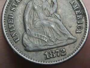 1872 P SEATED LIBERTY HALF DIME  VF DETAILS