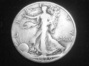 1929 D LIBERTY WALKING HALF DOLLAR     FINE