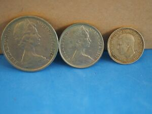THREE COINS FROM AUSTRALIA 10 5 THREE PENCE VARIOUS YEARS
