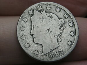 1887 LIBERTY HEAD V NICKEL 5 CENT PIECE  GOOD/VG DETAILS
