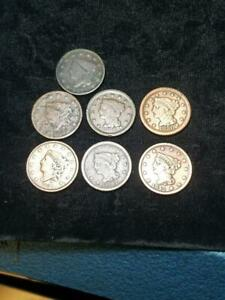 LOT 7 DIFFERENT LARGE CENTS 1818 1828 1834 1842 1847 1850 1852