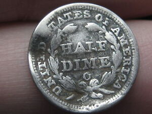1852 O SEATED LIBERTY HALF DIME  GOOD/VG DETAILS