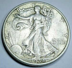 1934 S XF AU UNITED STATES SILVER WALKING LIBERTY HALF DOLLAR ANTIQUE 50C COIN