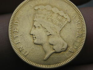 1854 O $3 GOLD INDIAN PRINCESS THREE DOLLAR COIN   NEW ORLEANS MINT