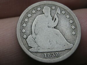 1838 SEATED LIBERTY SILVER DIME  GOOD DETAILS LARGE STARS