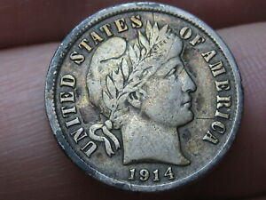 1914 D SILVER BARBER DIME  VF/XF DETAILS