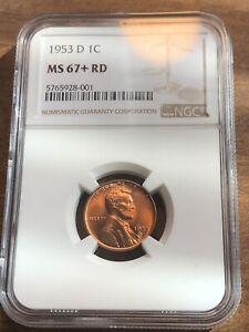 1953 D LINCOLN CENT MS67  PLUS RD  RED COIN  TOP POP  FINEST KNOWN  $4600 VALUE