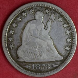 1873 SEATED LIBERTY DIME W/ARROWS VF DETAILS