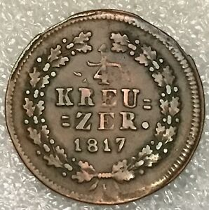 1817 L GERMANY DUCHY OF NASSAU 1/4 KREUZER COPPER COIN   FLAT RATE S/H