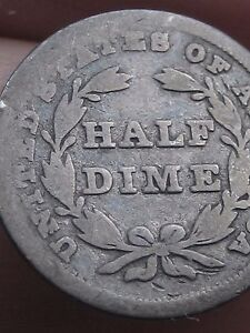 1837 SEATED LIBERTY HALF DIME NO STARS SMALL DATE