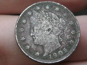 1905 LIBERTY HEAD V NICKEL  VF/XF DETAILS FULL DATE