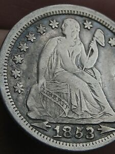 1853 P SEATED LIBERTY SILVER DIME  WITH ARROWS  XF DETAILS