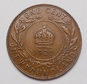 1920C NEWFOUNDLAND LARGE CENT F VF   NICE EARLY KING GEORGE V BETTER NFLD. PENNY