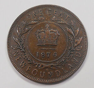 1876H NEWFOUNDLAND LARGE CENT VF   DATE VICTORIA KEY EARLY NFLD PENNY