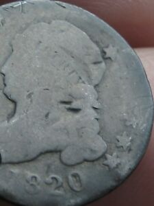 1820 SILVER CAPPED BUST DIME  LARGE 0