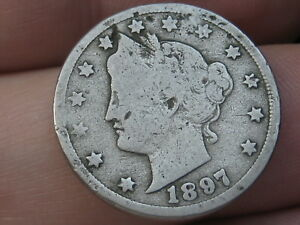 1897 LIBERTY HEAD V NICKEL 5 CENT PIECE  VG DETAILS FULL DATE
